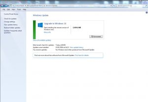 Windows 7 Automatic Update Panel